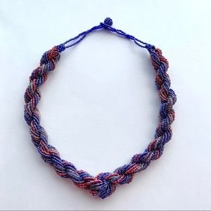 Tri-colour braided seed bead necklace